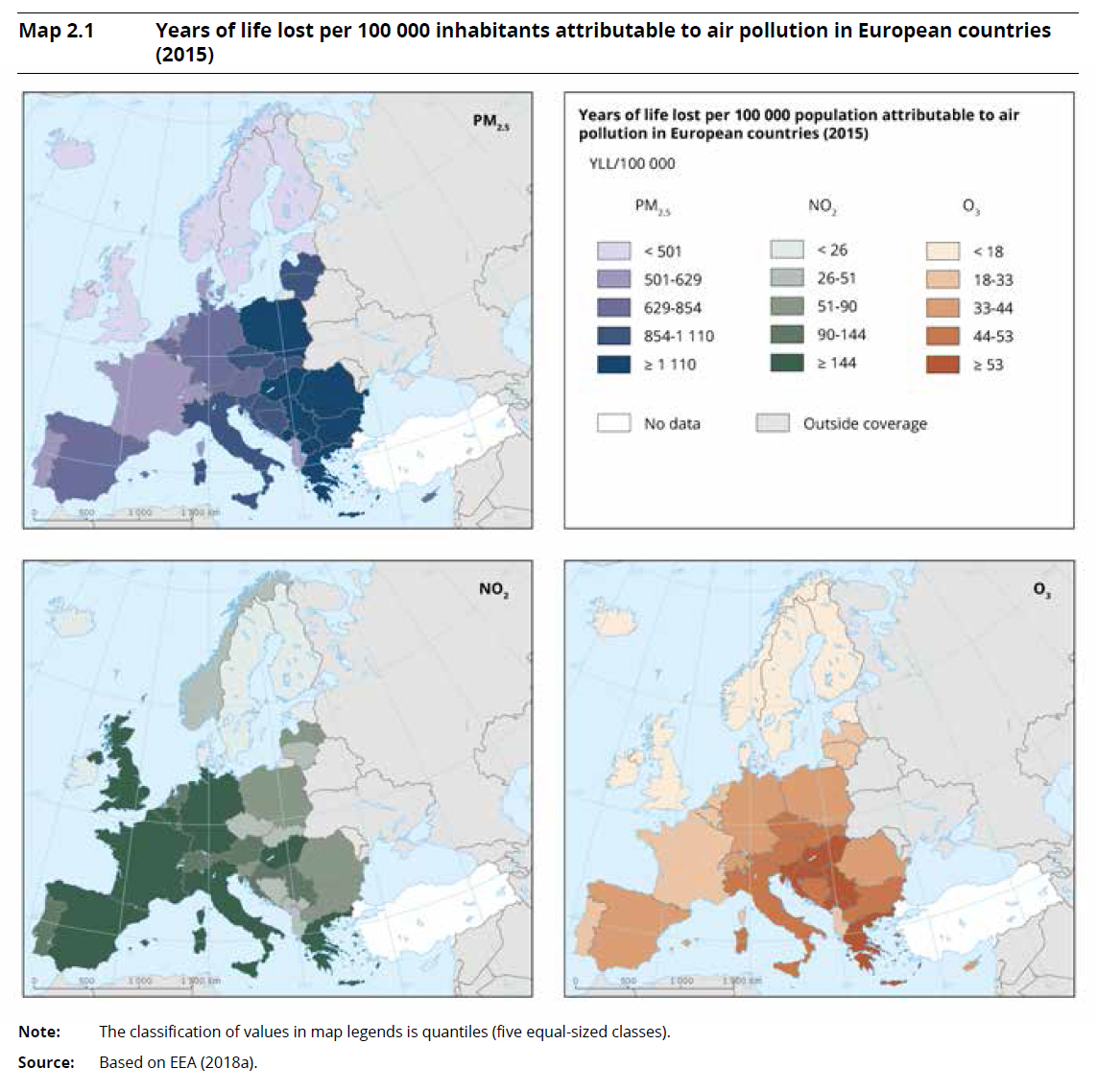 Years of life lost per 100 000 inhabitants attributable to air pollution in European countries (2015)