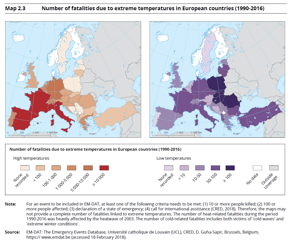 Number of fatalities due to extreme temperatures in European countries (1990-2016)